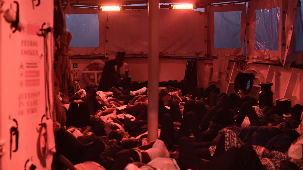 Packed in Some of the 629 migrants asleep on Aquarius as it heads to Spain