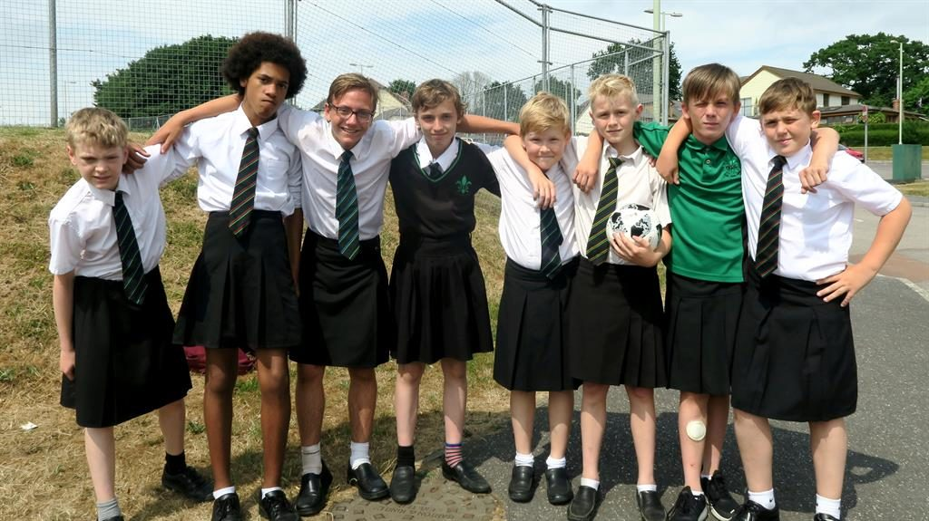 98ced516fd5 Boys wear skirts in protest. Class act  Boys at Great Torrington school in  Devon are protesting at rules which stop