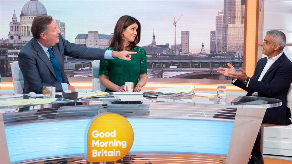 Balloon bust-up: Piers Morgan, Susanna Reid and London mayor Sadiq Khan discuss the blimp on Good Morning Britain PICTURE: REX