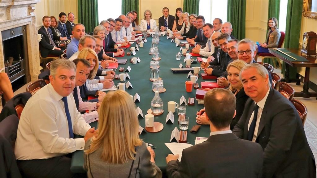 Full house: The cabinet holds its first meeting yesterday with the new foreign and Brexit secretaries PICTURE: PA