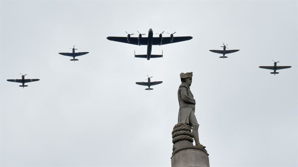 The old guard: Aircraft from World War II fly in formation, and a DC3 Dakota (below) PICTURES: JULIE EDWARDS/AVALON/REX