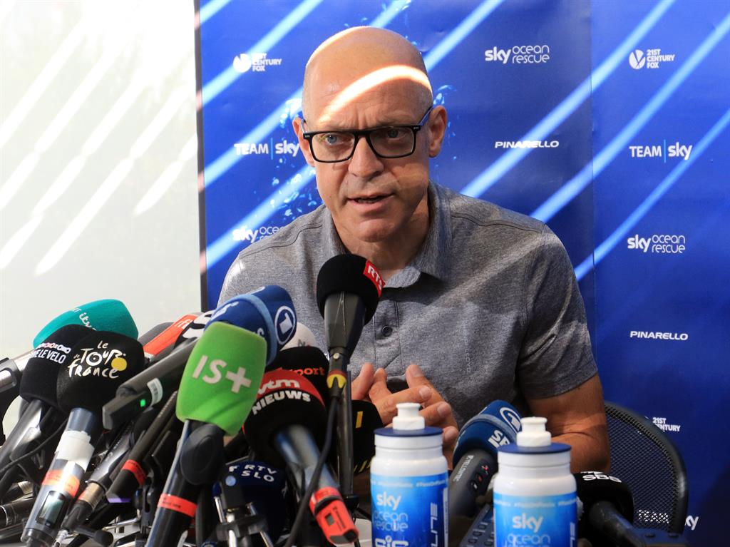 Culture clash Brailsford faces the media yesterday