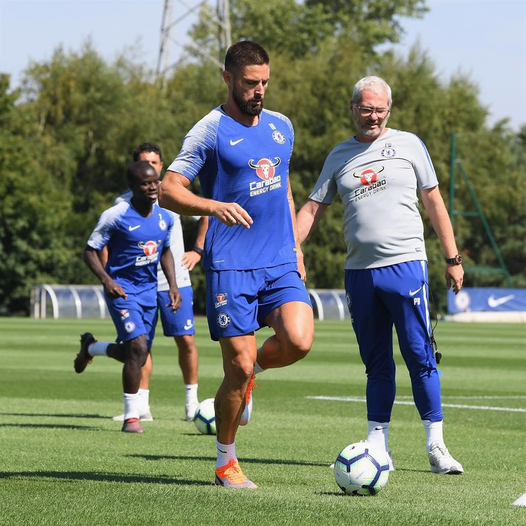 Winners France World Cup stars N'Golo Kante and Olivier Giroud returned to Chelsea training yesterday