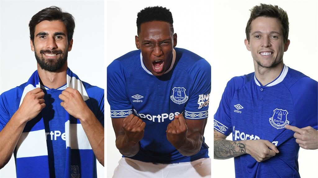 Top trio: Gomes, Mina and Bernard all joined Everton yesterday PICTURES: GETTY