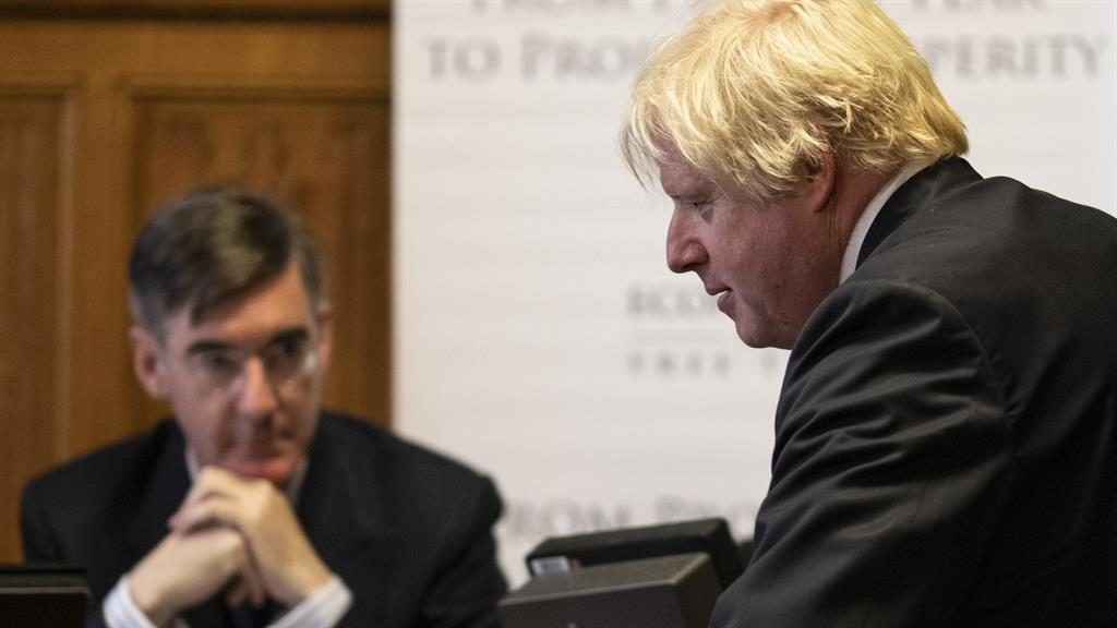 Objection' Jacob Rees Mogg and Boris Johnson yesterday PIC GETTY