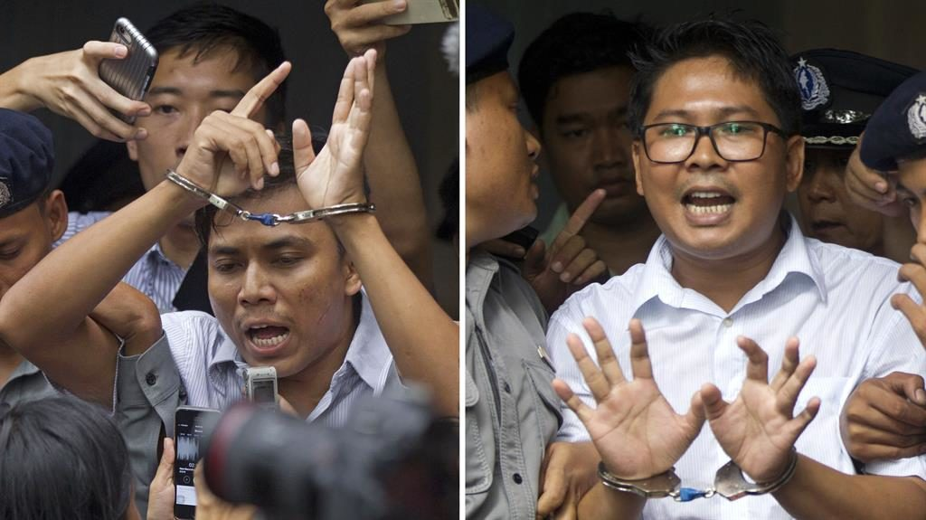 Jailed: Wa Lone (left) and Kyaw Soe Oo were imprisoned this month PICTURES: AP
