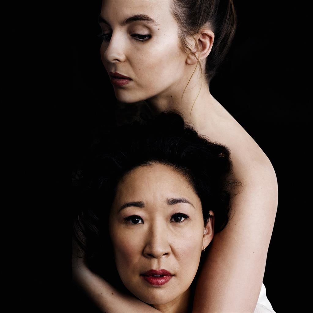 Cat and mouse: Russian assassin Villanelle (Jodie Comer) with MI5 agent Eve (Sandra Oh) PICTURE: JASON BELL