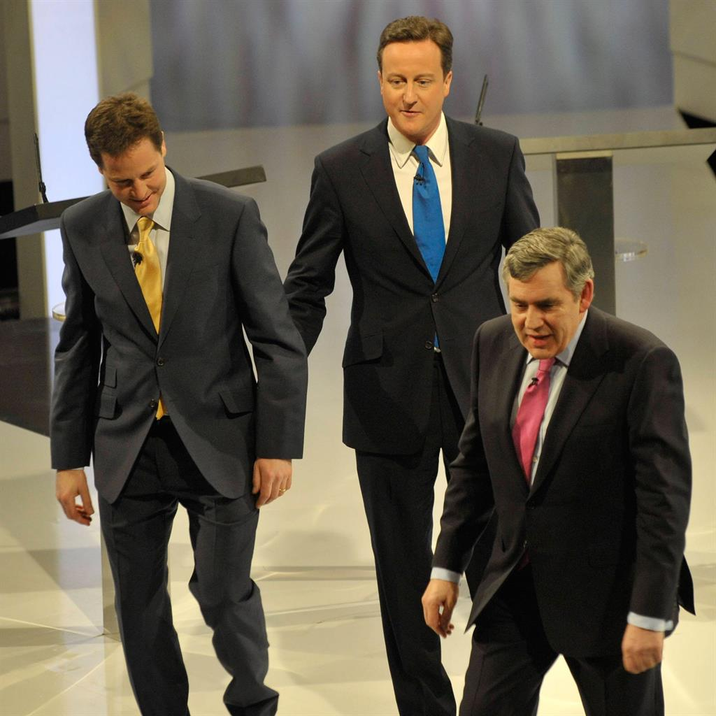 Slugging it out: Nick Clegg, David Cameron and Gordon Brown in 2010 PIC: ITV/GETTY