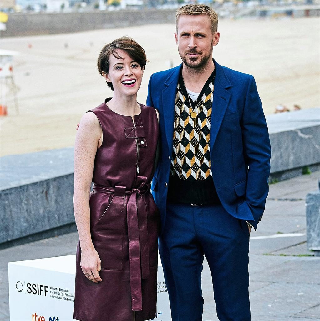 d8875cb165 Claire Foy dresses down in knitwear and leather