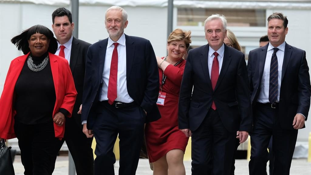 Next government? Labour's Diane Abbott, Richard Burgon, Jeremy Corbyn, Emily Thornberry, John McDonnell and Sir Keir Starmer head to conference hall before leader's big speech PIC: GETTY