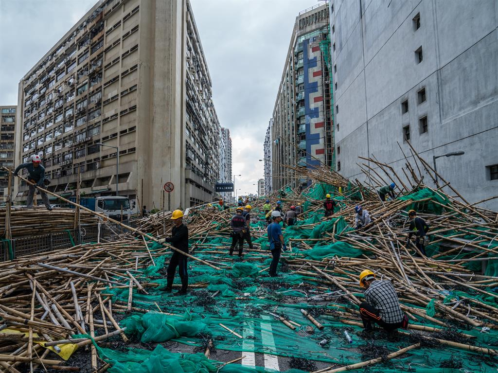 Debris Scaffolding torn from Hong Kong buildings