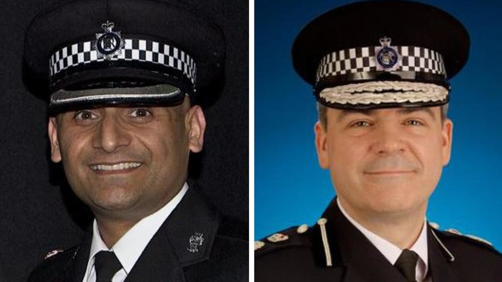 Cuts: Ch Supt Basit Javid, brother of minister (left), Ch Con Thompson (right)