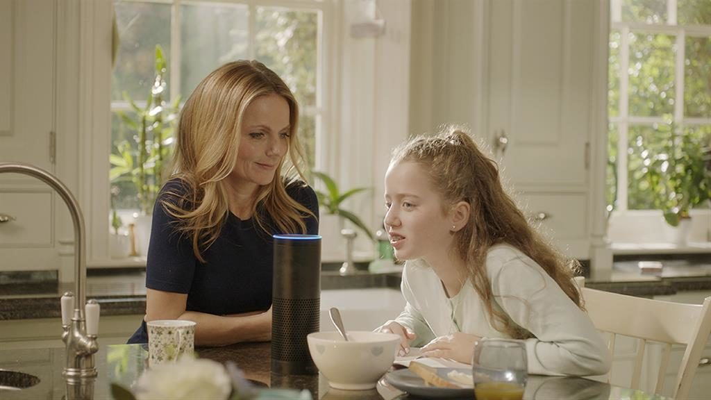 Latest venture: Geri Horner with daughter Bluebell, playing Parents vs Kids on Alexa PICTURE: NSPCC/PA