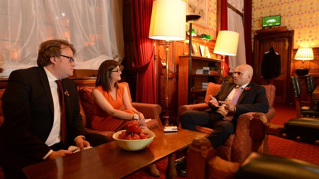 Home from home: Sajid Javid chats to Metro's Joel and Sharon at his office in the House of Commons PICTURE: DAVID LYNCH
