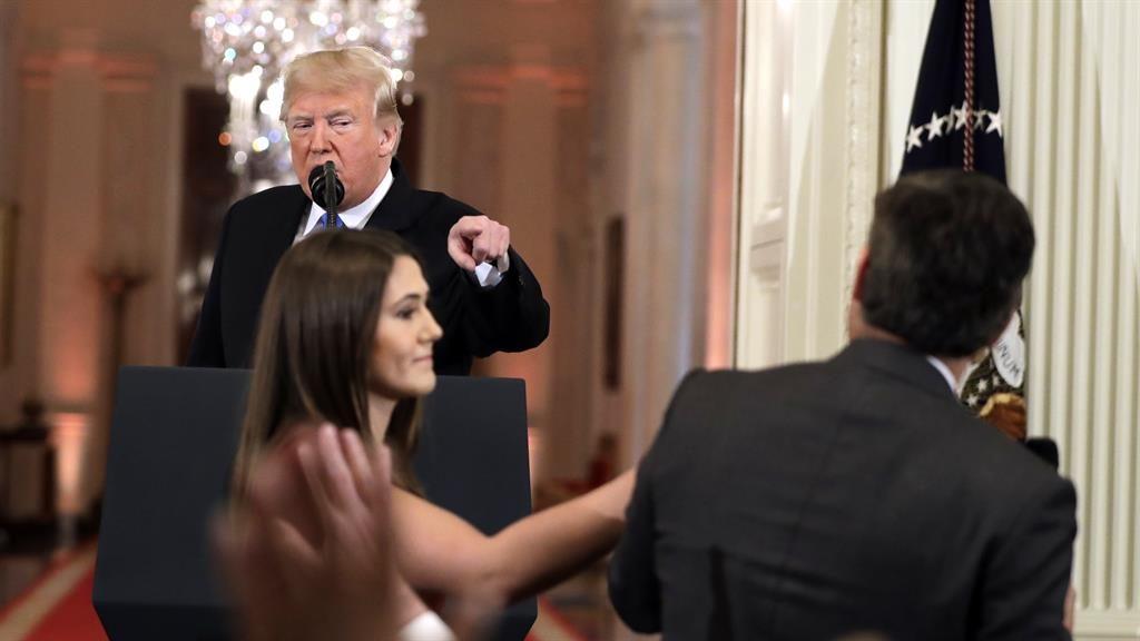 Pointed exchange: Donald Trump criticises CNN's Jim Acosta PICTURE: AP