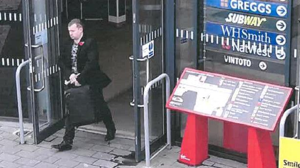 On the case: Stewart seen on CCTV leaving Wakefield station with stolen bag PICTURES: SWNS