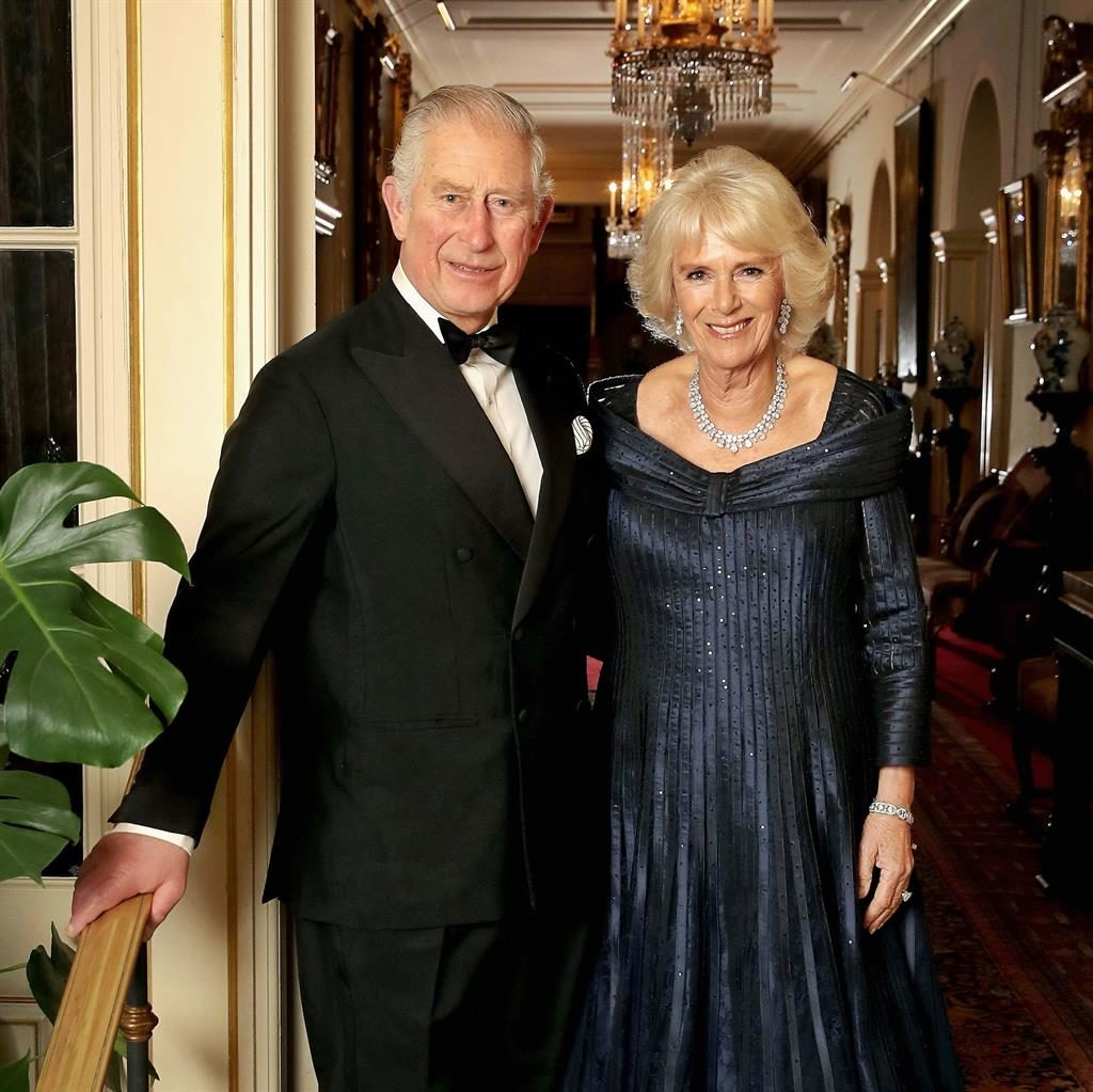 Ready to party: Charles and Camilla at Clarence House before going to the palace PICTURE: PA