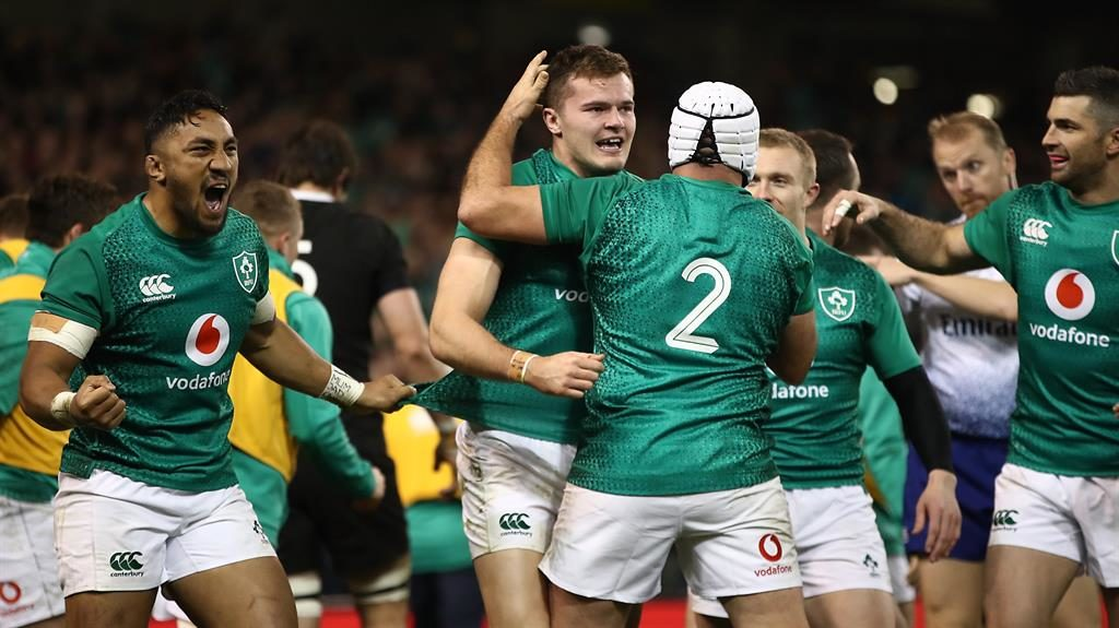 Green dream: Ireland celebrate their superb victory