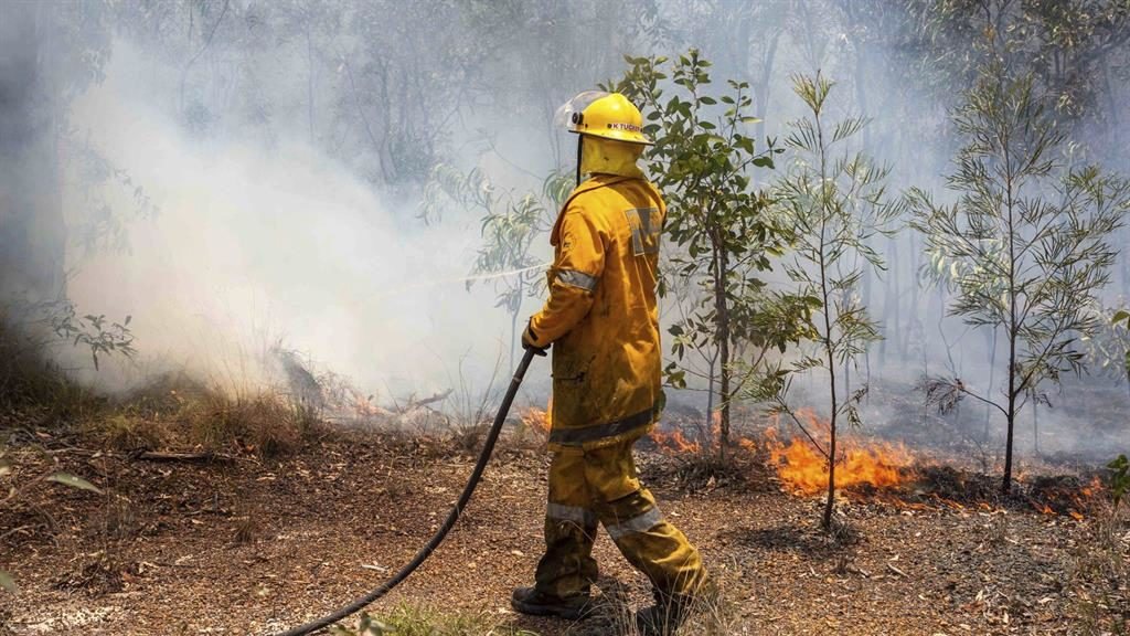 Battle: A firefighter tries to contain one of the 138 wildfires sweeping Queensland