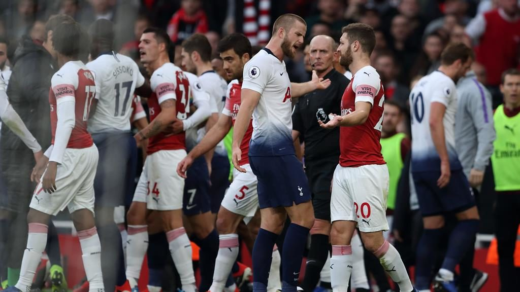 Heated exchange: Dier squares up to Shokodran Mustafi PICTURE: GETTY