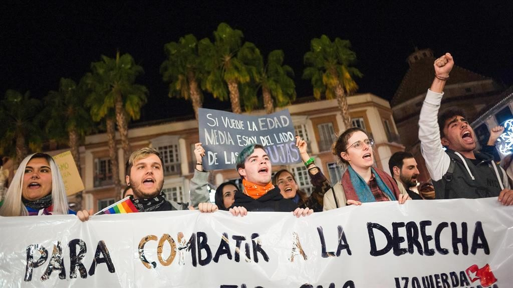 Loud protest: Demonstrators make their feelings known in Malaga PICTURE: REX