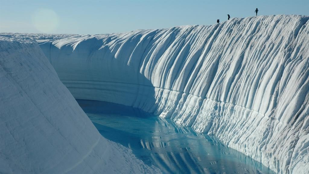 Warming: Canyon on the Greenland ice sheet provides fresh evidence of the impact of climate change PICTURES: SWNS