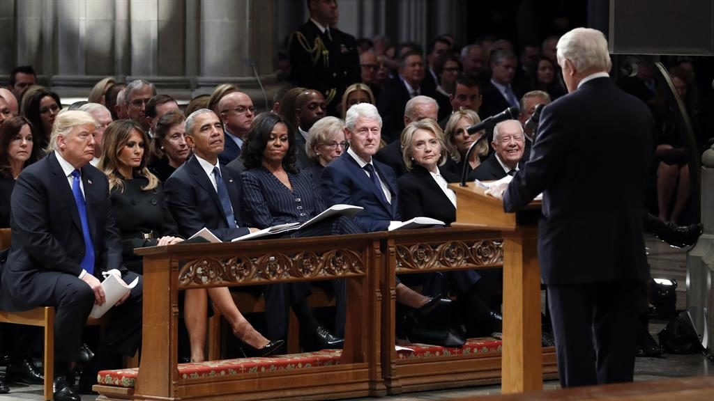 Presidents all in a row: (l-r) Donald and Melania Trump, Barack and Michelle Obama, Bill and Hillary Clinton, and Jimmy Carter were seated together PICTURES: GETTY/EPA/REX