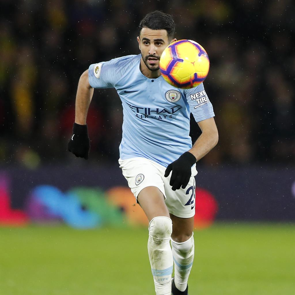 Riy-glad: Mahrez was on target in City's 2-1 victory at Vicarage Road PICTURE: AP