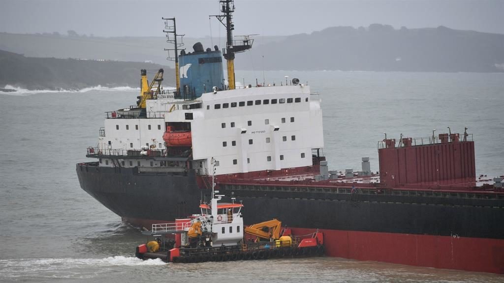 Rescue bid launched for stricken Russian cargo ship off Falmouth