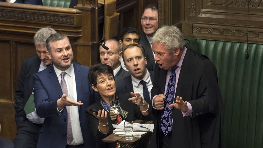 Out of order! MPs including health secretary Matt Hancock (centre) besiege John Bercow PICTURE: UK PARLIAMENT/MARK DUFFY/PA