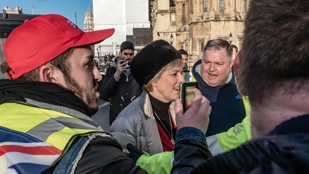 Target: Anna Soubry is heckled by pro-Brexit protesters outside parliament PICTURE: ALAMY