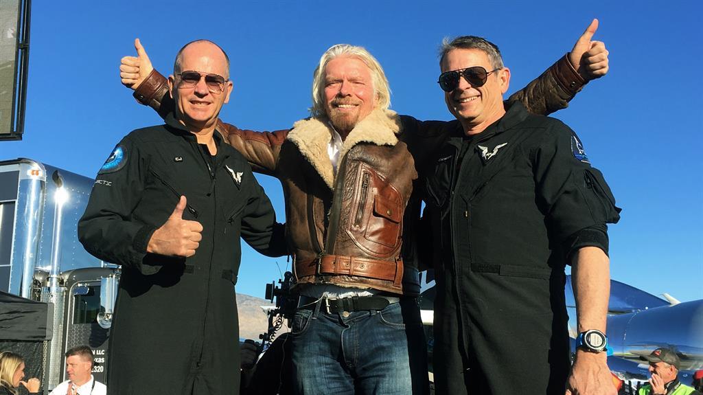 Thumbs up up and away Richard Branson with pilots Rick CJ Sturckow and Mark Stucky