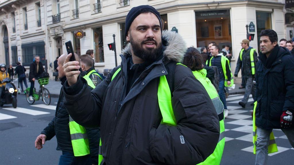 Figurehead: Eric Drouet at a protest in Paris last month PICTURE: REX