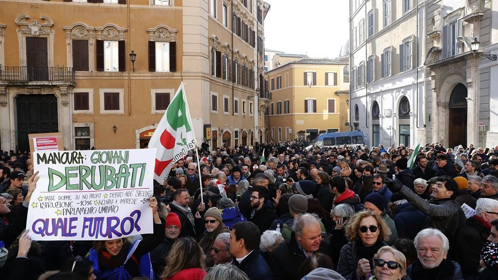 Out in numbers: Italian Democratic Party supporters march in Rome PICS: REX