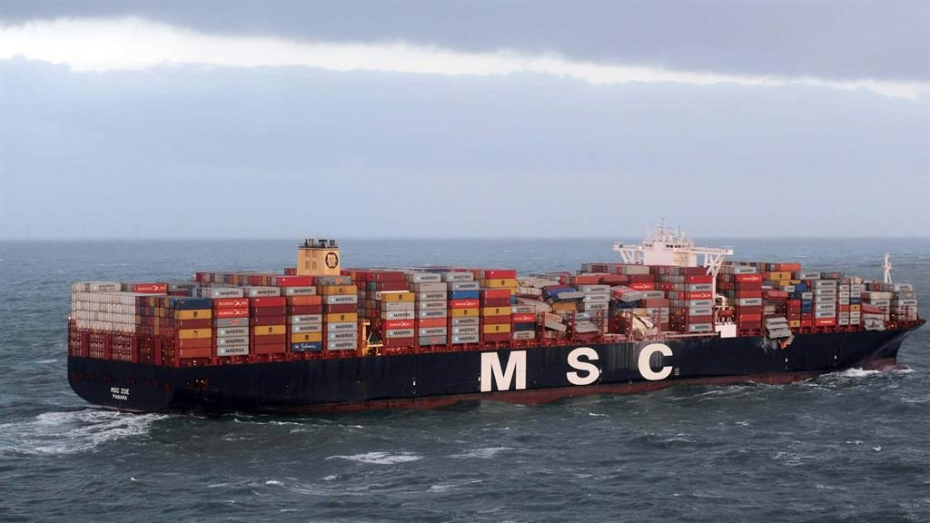Missing: Around 270 containers fell from the MSC Zoe during a storm PICTURE: EPA