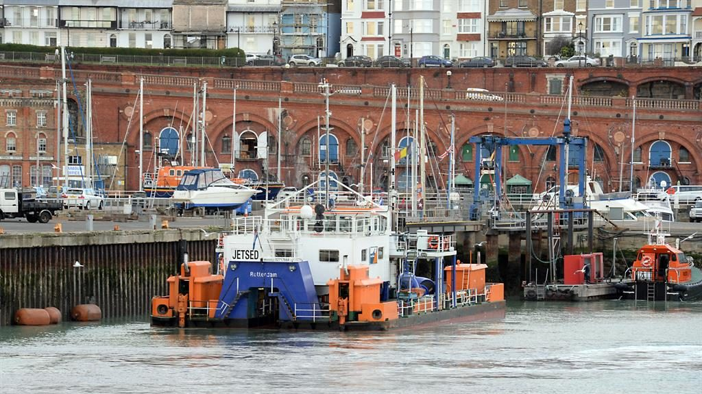 Clearing the site: The Dutch vessel spotted at Ramsgate PICTURE: ISO IMAGES