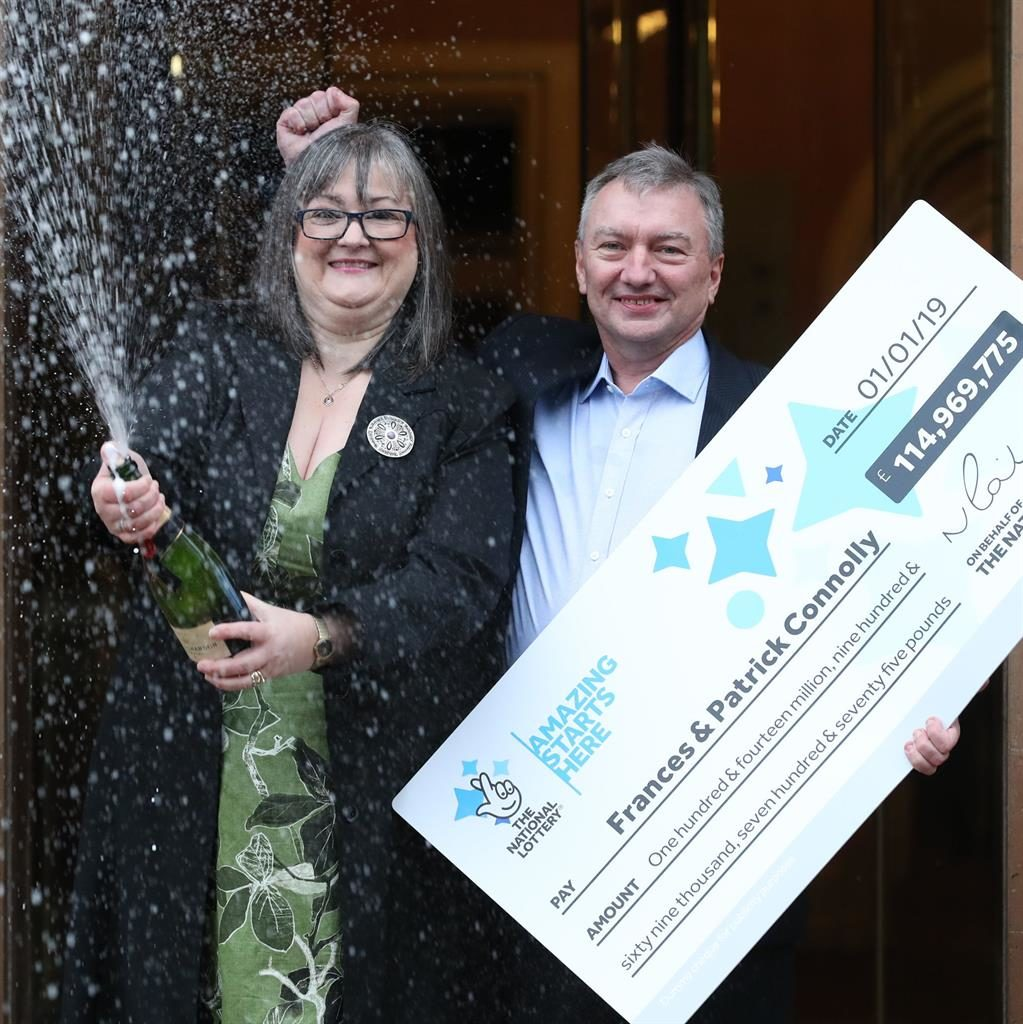 'Unreal': Frances and Patrick Connolly, from Moira in Northern Ireland, scooped nearly £115million in the New Year's Day lottery draw PICTURES: PA