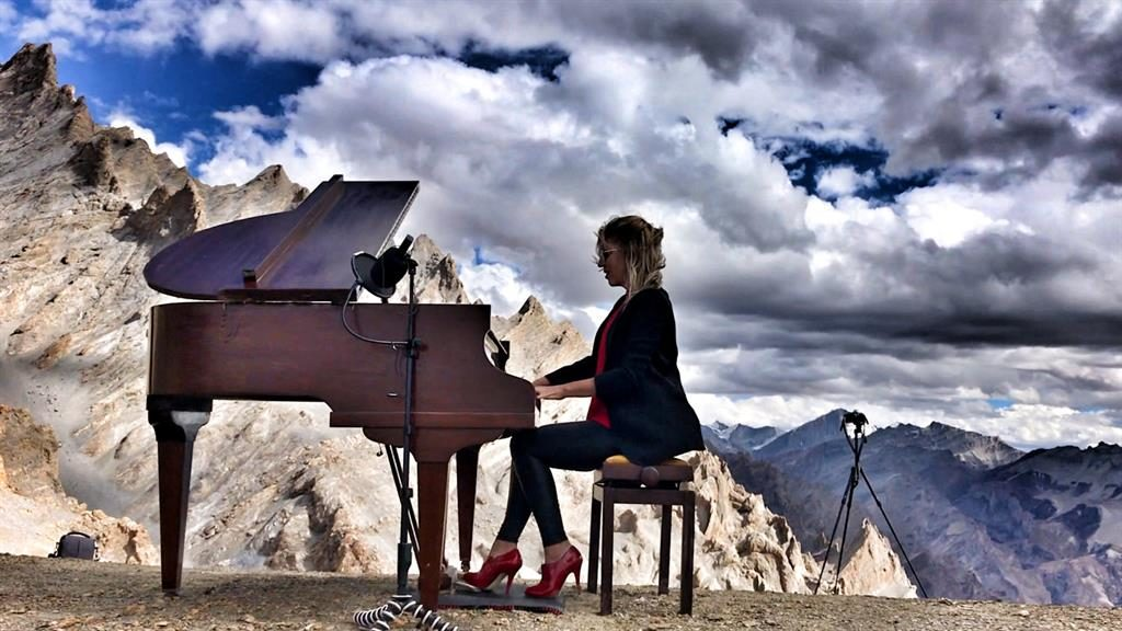 Top of the world: Evelina De Lain played Chopin and her own compositions at the recital PICTURES: SWNS