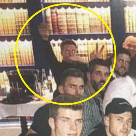 Wrong signals: Wayne Hennessey (circled) 'waves' in the Instagram picture