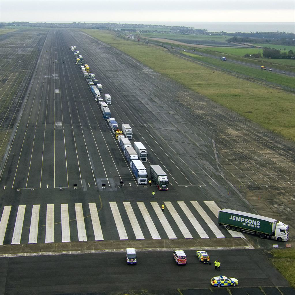 Airport: Trucks at Manston PICTURE: PA