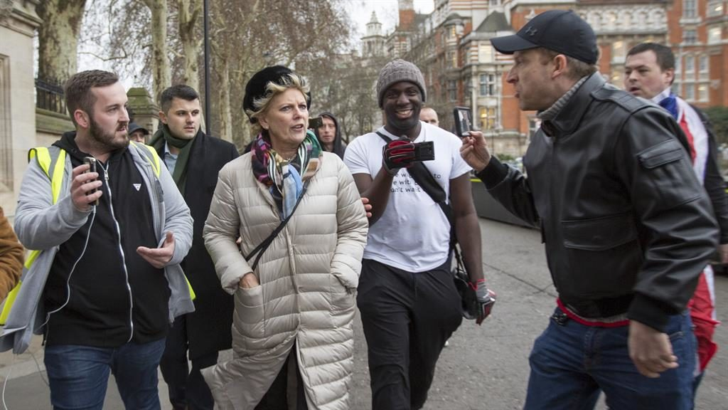 Confrontation: James Goddard (left) and another heckler (right) target pro-EU MP Anna Soubry outside parliament PICTURE: GEORGE CRACKNELL/LNP