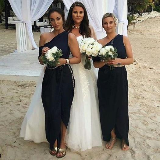 Maid to do it: Vicky (left) said her sister Laura asked her to block stains on her wedding dress at her wedding