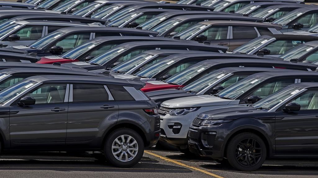 Gridlocked: JLR vehicles at its site in Knowsley, Merseyside PICTURE: PA