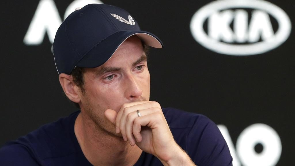 Emotional: A tearful Sir Andy Murray broke down in a news conference as he announced his retirement from the sport PICTURE: AP