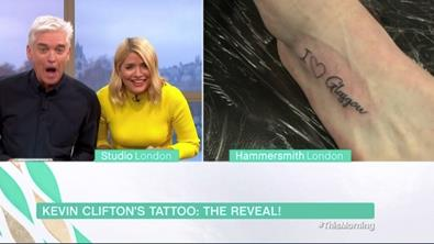 Ouch: This Morning's Phillip and Holly look alarmed at Kevin's inking PICTURE: ITV/PA