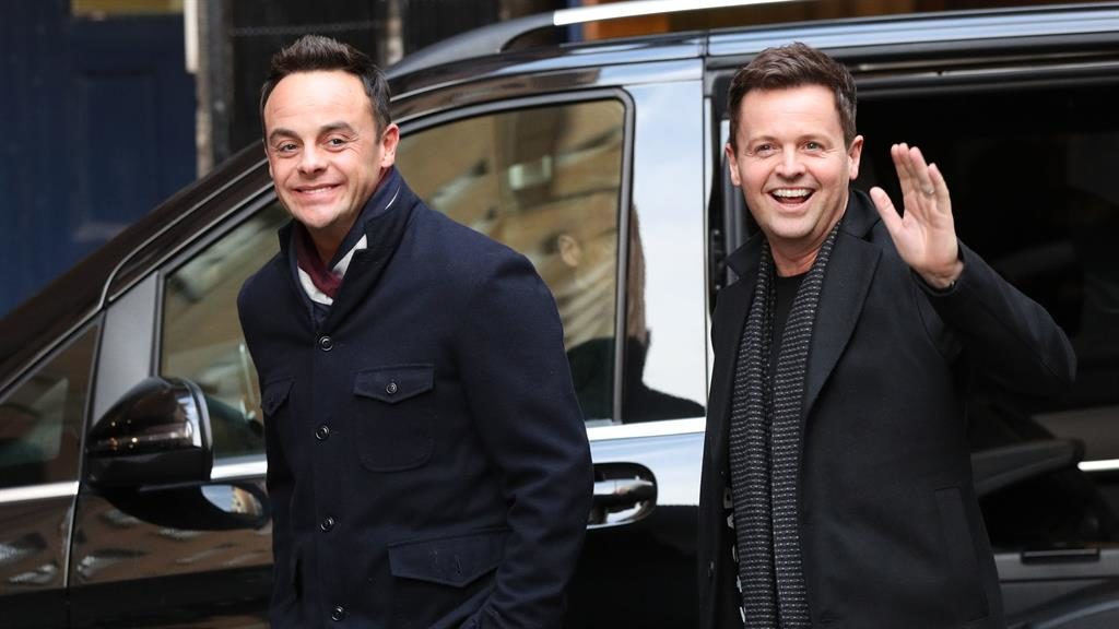 All smiles: Ant posing with his TV partner Dec outside the London Palladium earlier today PICTURE: PA