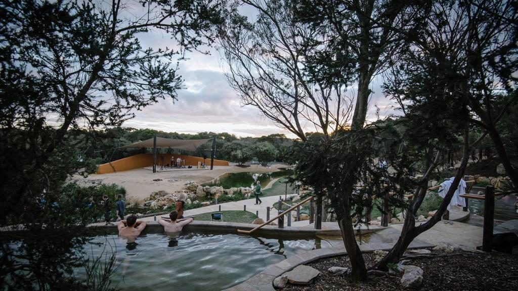 Soak it all in: Concerts are held at Peninsula Hot Springs in Australia