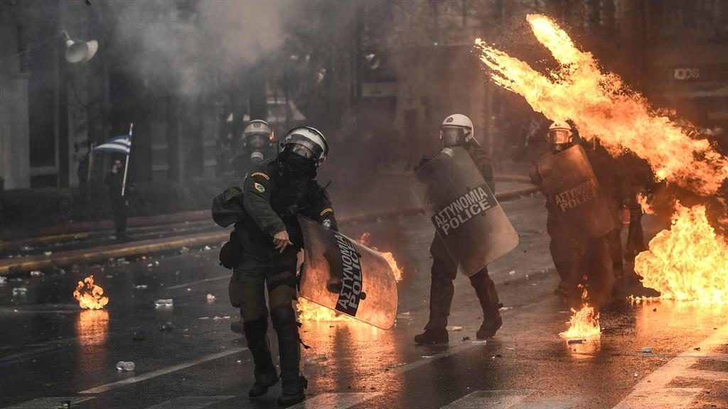 Street protests: Police retaliate as they come under attack in Athens PIC: GETTY