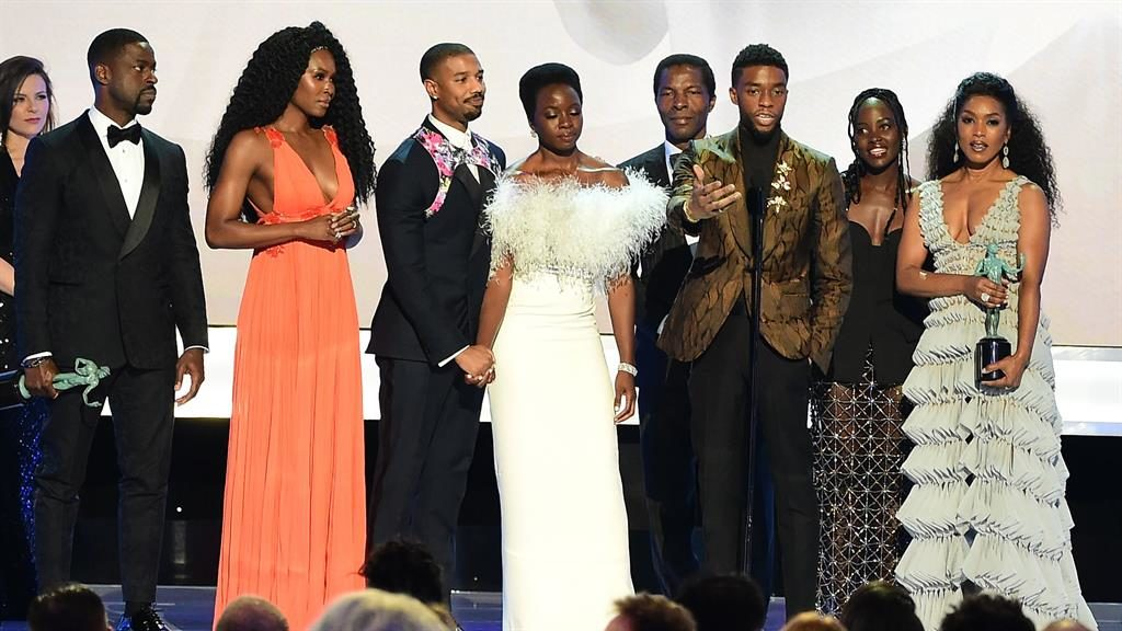 Marvel-ous: Black Panther took the prize for best ensemble cast in a motion picture, the ceremony's version of the best picture gong PICTURE: GETTY