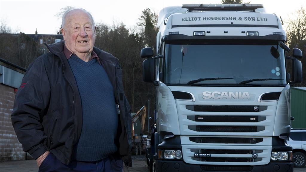 King of the road: Richard Henderson, 83, from Selkirk, has been named World's Oldest HGV Driver by Guinness World Records PICTURES: SWNS